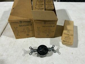 10x GE GE4120-3, 2-Wire Side Wired Single Outlet 20A 250V Black, NOS