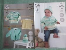 PATTERN ONLY. King Cole pattern 4805 Baby's Jacket, Sweater, Cardigan & Hat.