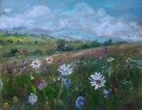 Oxeye Daisies, Penhill, Wensleydale signed.Impressionism.Oil.Canvas.Yorks. Dales