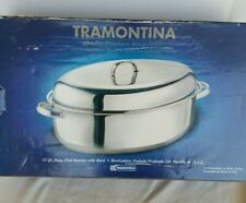 TRAMONTINA 18/10 Stainless Steel 12 Quart Deep Oval Roaster w/ Rack 80203