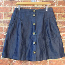 Boden US 6 Chambray Denim Look A-Line Skirt Pockets Button Front