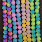 50pcs 6mm Round Glass With Color Coated Loose Spacer Beads Random Mixed