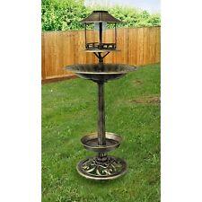 Copper Effect Bird Feeder Bath Solar Light Ornamental Garden Bird Table Station