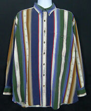 Chaps Ralph Lauren Western Shirt Men's XL Multi-Color Long Sleeve Cotton Striped