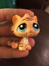 Littlest Pet Shop Tiger #1608 Orange and Brown Striped With Aqua Blue Eyes