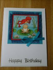 Frog Birthday card, handmade, fabric, animal, frog, frogs