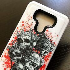 For LG G6 - Hard Hybrid Armor Phone Case Cover Red Black Bag of Skull King Heads