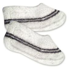 Women's Short Hand Knit White Gray Socks Hand Made in Russia 100% Wool Sale