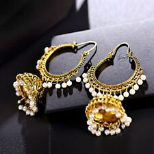Vintage Indian Bollywood Women's Gold Silver Bohemian Pearl Drop Jhumka Earrings