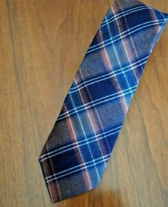 Vintage Mens Tie Jacobs Roberts Blue Copper Wide Stripes Made in Scotland