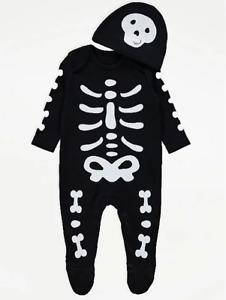 Baby Halloween Skeleton Costume Boys Fancy Dress All In One Sleepsuit Hat George