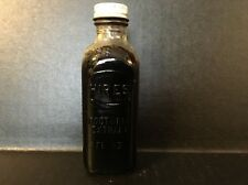 Vintage Hires Root Beer Extract 3 Fl Oz Clear Glass Bottle w/ Lid Half Full