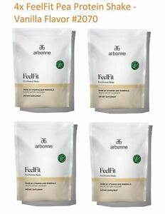 4 Bags - FeelFit Pea Protein Shake-Vanilla Flavor #2070 . EXP:4/2022 or Later