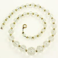 Vintage Art Deco 16'' Faceted ROCK CRYSTAL GOLD FILLED BEAD NECKLACE Classic