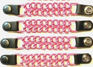 4 GLOSSY PINK POWDER COATED DOUBLE CHAIN MOTORCYCLE VEST EXTENDERS MADE IN USA