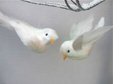 GISELA GRAHAM CHRISTMAS IRID FLOCK/FEATHER BIRD DECORATION X 2