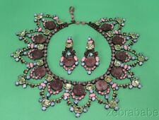 Larry Vrba Demi Parure Necklace Earrings Lavender Multi Color Stones