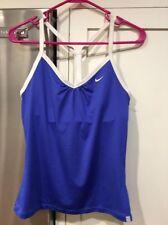 New Nike Racerback Dri-fit Tank Top size L, Blue/white Polyester/Spandex