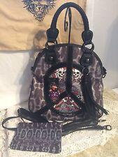 NEW Ed Hardy handbag, SKULL ROSES design by Christian Audigier,  purse bag