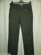 Ladies Stretch Cargo Zip Trousers Khaki Green Size 8 10 L32 10L