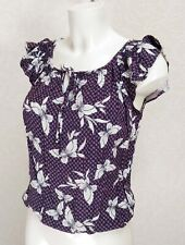 DOROTHY PERKINS purple Viscose elasticated waist Ruffle cap sleeve blouse top 10