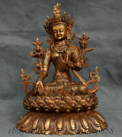 "14.4 ""Ancien Tibet Bronze Temple du Bouddhisme Doré Lotus Vert Tara Sculpture"