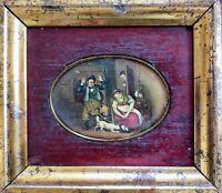 """Miniature huile sur panneau """"la chasse à la souris"""" 18ème"""