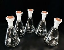 CONICAL FLASKS Beakers SET OF 5 X 100ml glass with plastic stopper/spice, labs
