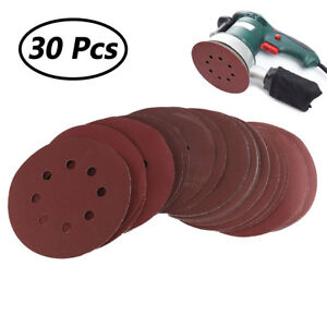 "30Pcs 5"" Sanding Discs Sandpaper Assorted Grits Hook Loop for Orbital Sander O"