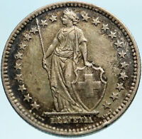 1944 SWITZERLAND - SILVER 2 Francs Coin HELVETIA Symbolizes SWISS Nation i82805