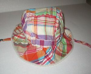 New The Children's Place Girls Multi Color Plaid Bucket hat Size 6-12 months NWT