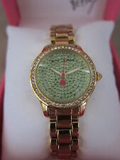 BETSEY JOHNSON Gold Tone & Green Tiny Time Crystal Embellished Case Watch NWB