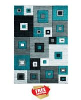 """5'3"""" x 7'6"""" Modern Woven Olefin Area Rug, Turquoise, Chic Pattern, Thick Pile"""