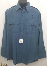 Flying Cross Mens L/S Uniform Zippered 16.5 35 L Blue Shirt Police EMT Fire A09