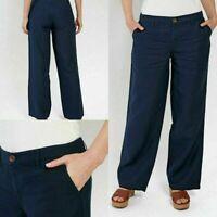 NEW RRP £52 Ex Fat Face Linen Wide Leg Trousers - Blue-Navy               (B159)
