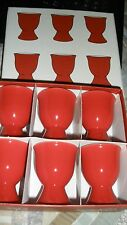 HTF BIA Cordon Bleu Poppy Collection Set/6 Ceramic Egg Cups-Red/White-MIOB