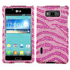 LG Optimus Showtime L86c Crystal Diamond BLING Hard Case Phone Cover Pink Zebra
