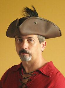 Pirate Hat Medieval Celtic Renaissance LARP Tricorn Triangle Leather Hat Deluxe
