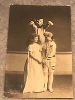 rppc postcard Theatre Cats Costume Two Young Children Dressed In Costumes