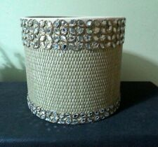 Mirror Work  on  Wicker pattern Drum Lampshade Home Decor Cream