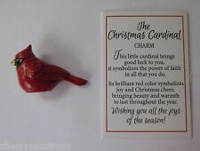 i Christmas Cardinal Bird CHARM pocket visitor from heaven miniature figurine