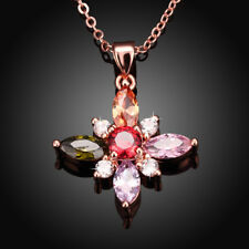 18K Rose Gold Filled Multi Colour CZ Stone Snowflake Pendant Necklace