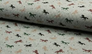 Baumwoll Steppsweat, Quality Textiles, Diamond Druck, Pferde, Grau, Rest