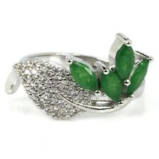 Romantic Real Green Emerald White CZ Woman's Wedding Silver Ring US 7.0#