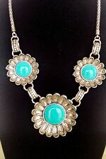 Antique Vintage Tibet Silver Flower Shape Round Turquoise Stone Pendant Necklace