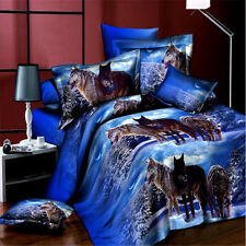 Blue Wolf Single Size Bed Quilt/Doona/Duvet Cover Set New Pillow Cases Bedding
