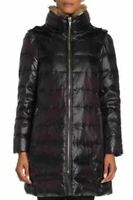 NWT Kate Spade New York removable faux fur hoodie Jacket In Black Size M #C1249