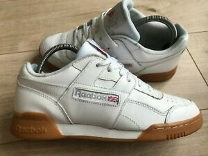 Mens White LEATHER REEBOK WORKOUT PLUS (uk7.5) *GREAT COND*
