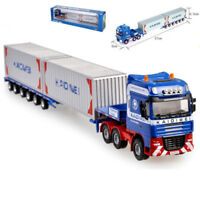 KDW 1:64 Scale Die-cast Low Bed Transporter Truck Vehicle Car With 2 Containers