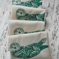 Otter Organic Cotton Set 4 Cloth Napkins Gift Screen Printed Nwt